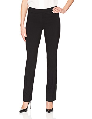 Tailored Straight Cut Pants - Lark & Ro Women's Barely Bootcut Stretch Pant: Comfort Fit, Black, 4S