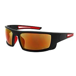 Edge I-Wear Sports Safety Sunglasses ANSI Z87+ Color Mirror Lens 570100/REV-3(M.BLK.r)