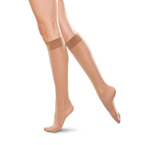 Therafirm LIGHT Women's Knee High Support Stockings – 10-15mmHg Compression Nylons (Sand, Small)