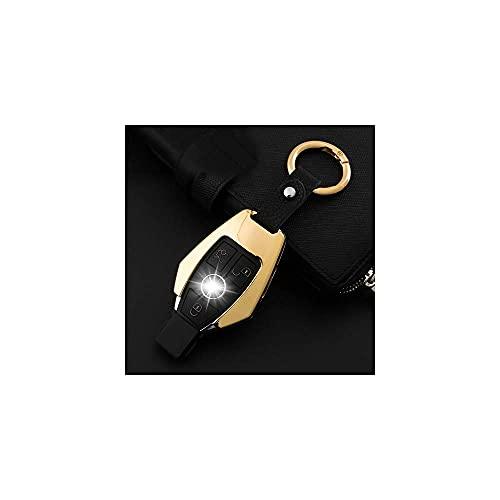 1 set zinklegering autosleutel Cover Case Shell Keycase, voor Mercedes Benz C E Glk Gold