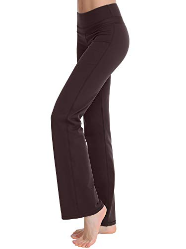 Zeronic Women's Bootleg Yoga Pants Long Bootcut Workout Running Pants (Brown, Medium)