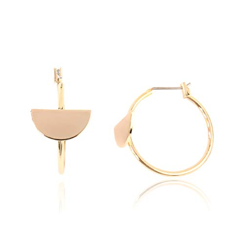 RIAH FASHION Simple Lightweight Geometric Statement Hoop Earrings - Classic Thin Wire Delicate Curved Threader Dangles Round/Pear/Horseshoe/Wood Oval (Half Moon Hoops - Gold) ()