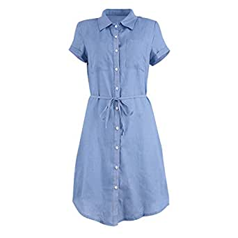Amazon.com: Vestido vaquero para mujer, cuello en V, de ...