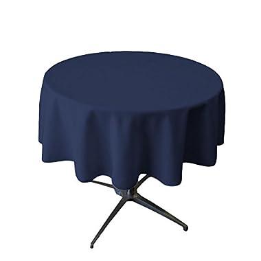 LA Linen Polyester Poplin Round Tablecloth, 58 , Navy