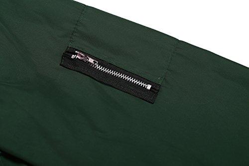 cooshional Chaqueta Casual de las mujeres con O-cuello y manga larga Chaqueta delgada con cremallera Ejercito verde