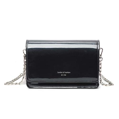 Fmeida Faux Patent Leather Crossbody Clutch Womens Evening Purse Rectangular Box Candy Bag for Travel/Shopping - Black