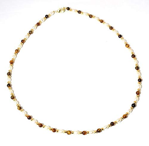 The Olivia Collection TOC Freshwater Pearl and Tiger's Eye Goldtone Bead Necklace