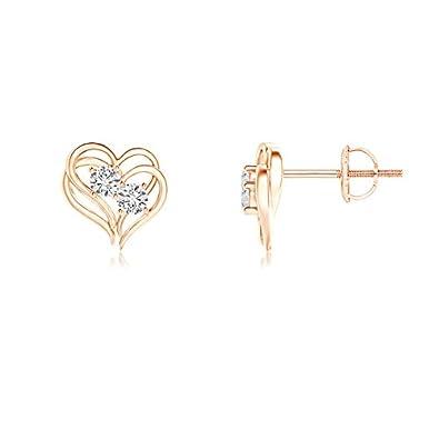 Angara Two Stone Diamond Stud Earrings in Rose Gold pWNSLGIQJq