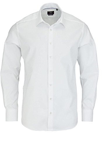 ETERNA long sleeve Shirt MODERN FIT Herringbone uni blanco