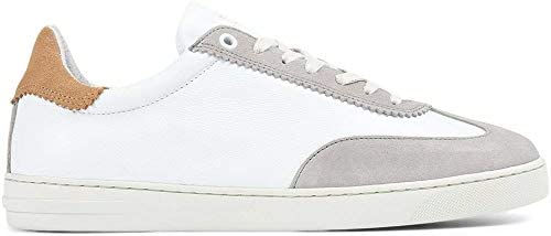 Travis Leather Lace-Up Trainer White Grey