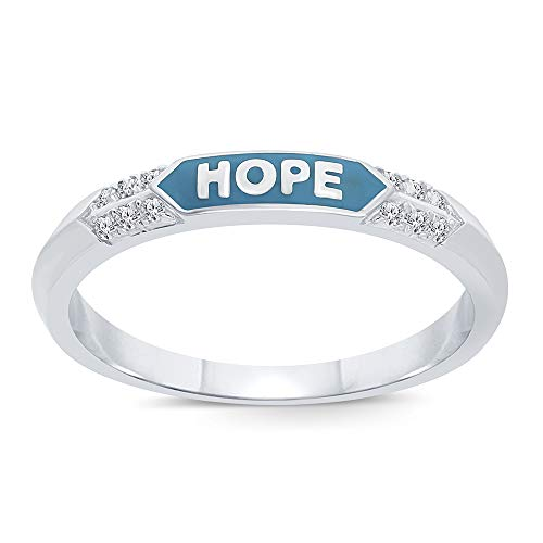 Round White Diamond Hope Ring Accent Sterling Silver Enamel Ring Band Love Hope Strength Stack Ring for Womens (Hope, 8)