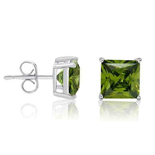 Campton Basket Set Square Princess Cut Olive Green CZ .925 Sterling Silver Stud Earrings   Model ERRNGS - 13388 -