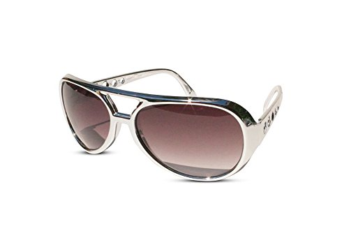 The King of Rock and Roll Elvis Presley Large Las Vegas Costume Sunglasses (Silver, Brown)