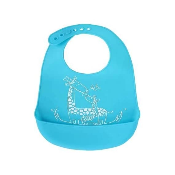 The Baby Co. Soft Silicone Feeding Bib Waterproof Adjustable Snaps Baby Bibs for Infants and Toddlers with Food Catcher