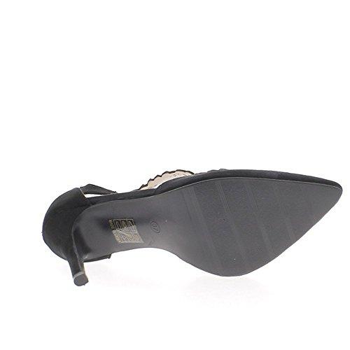 Escarpins noirs à talons fins de 10cm bouts pointus aspect daim strass