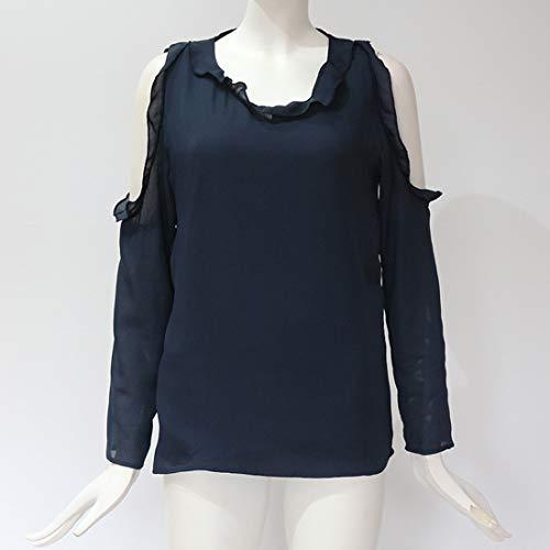 Spalla Tops Manica Maglie Bluse Autunno Primavera Shirts Casual e Tinta Blouse a Unita Camicie Lunga Donne Maglietta Moda Fredda T wzRxXEqB