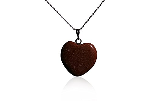 - Stunning Goldstone Heart Necklace - On Solid Silver Chain - NEW AND ELEGANT!