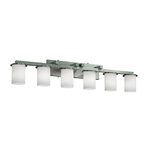 Justice Design Group FSN-8786-10-OPAL-CROM Fusion Collection Dakota 6-Light Bath Bar Crom 6 Light Fusion