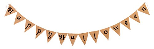 Fun World Happy Halloween Banner Halloween Decoration Cream 1/2 in. W x 12 ft. -