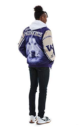 Twin Vision Activewear Washington Huskies Satin Bomber Jacket (Medium) Purple (Graphic Bomber Jackets For Men)