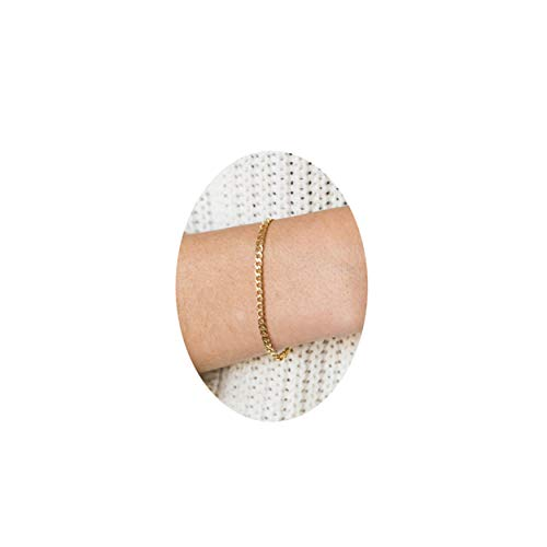 Dainty Gold Curb Chain Bracelet,2.5mm Delicate Flat Curb Link Chain Bracelets for Women,Cuban Chain Bracelet