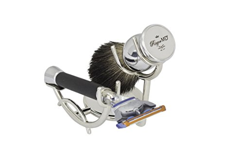 Razor MD 3-Piece iGrip Black Custom Shave Set (Black iGRIP 5-blade Razor, Shave Brush, Chrome Stand)