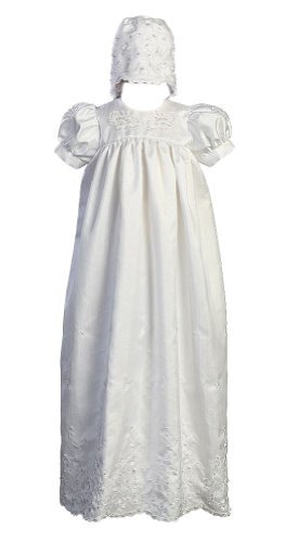 - Long White Embroidered Shantung Christening Baptism Gown with Matching Bonnet - M (6-9 Month)