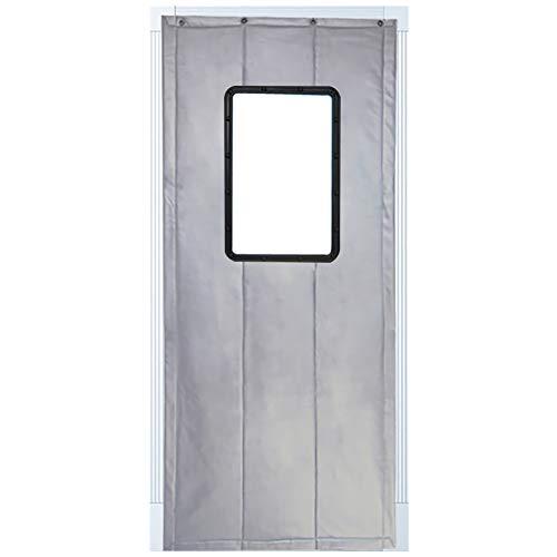 JIANFEI Door Curtain Keep Warm Waterproof PU,3 Colors, 18 Sizes Customizable (Color : Silver, Size : 120x200cm)