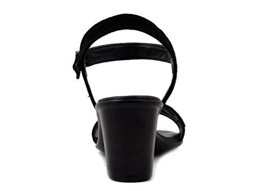 Mercante Camoscio Sandalo Fiori Nero Smh45193 Tacco Di In 6cm rHwSCxr1q