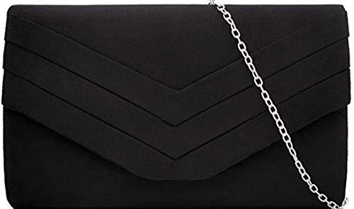 H&G Plain Faux Suede Envelope Clutch Bag - Nude Black