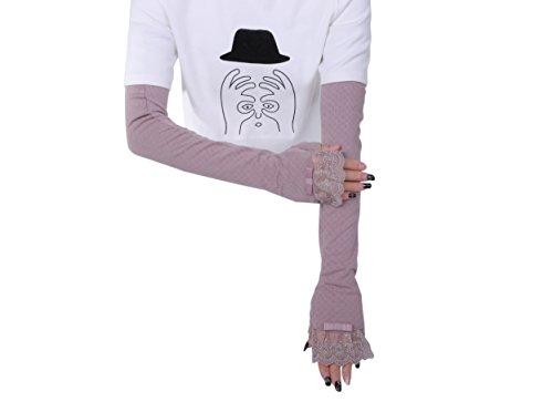 Women's Cotton UV Protective Fingerless Long Sleeve Arm Glove (Purple)