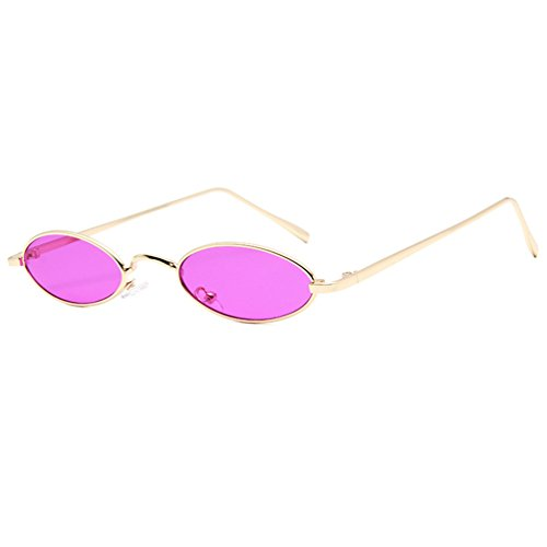 Armear Retro Oval Colored Slim Fit Sunglasses Small Metal Frame Flat Lens UV400 (Purple, - Oval Flat Sunglasses Lense
