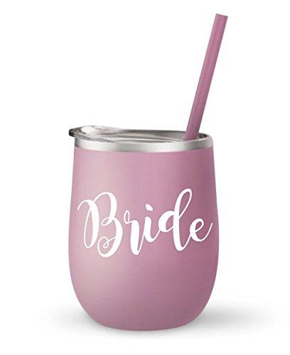 Bride Wine Goblet - Bridal Party Wine Tumblers Stainless Steel - Bridesmaid, Maid of Honor, Mother of Bride, Bride Tribe (Carnation Goblet - White (Junior Bride And Groom)