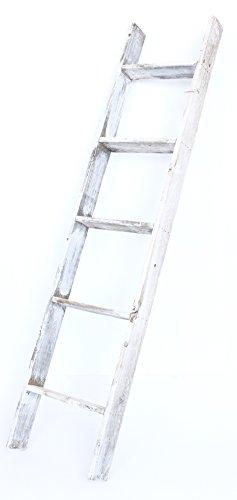 BarnwoodUSA Rustic 5 Foot Decorative Bookcase Ladder - 100% Reclaimed Wood, White