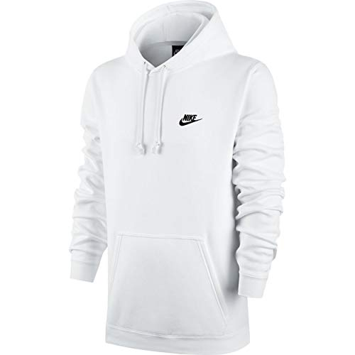 Men's Nike Sportswear Club Pullover Hoodie, Fleece Sweatshirt for Men with Paneled Hood, White/White/Black, XS by Nike (Image #3)