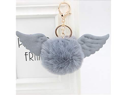 Gelaiken Plush Keyring Soft Plush Ball Keychain Angel Wings Plush Pendant Ladies Bag Car Ornaments(Gray)
