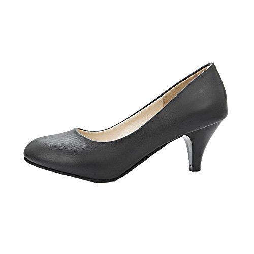 Aguja de AgeeMi Shoes Tacón Puntera De Sin Punta Mujeres EuD60 Cordones Negro en Salón wqtWrIxqS