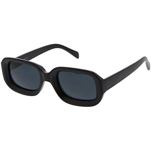 sunglassLA - Chunky Matte Finish Rectangle Sunglasses Neutral Colored Lens 50mm (Black / Smoke) (Sunglasses Rectangle)