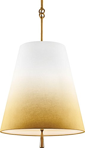 - Feiss Three F2958/3BLB, Tori Large Cone Pendant, 3 Light, 195 Total Watts, Brass, 18