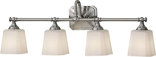 (Feiss VS19704-BS Concord Glass Wall Vanity Bath Lighting, Satin Nickel, 4-Light (30