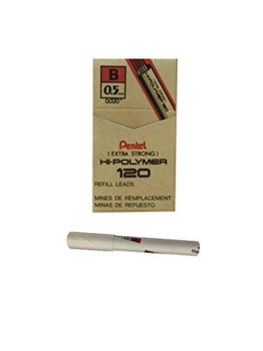 Pentel Premium Hi-Polymer Lead, 0.5mm, Fine, B, 12 Pieces/Tube, Box of 12 (C525-B)