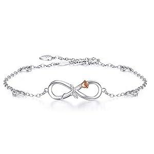 BlingGem Bracelet de Cheville pour Femme Argent 925/1000 Zirconium Rond Infini Coeur Ensemble pour Toujours Cheville…
