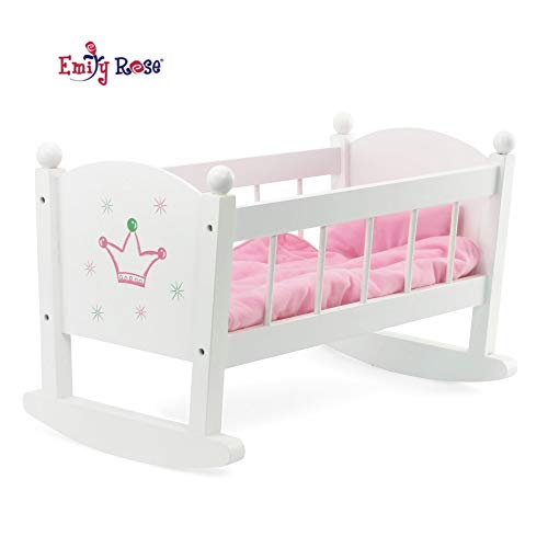 """Wht Wood Bow Padded W//Pillow Mattress Blanket For 19/""""Toy KidKraft Doll Cradle"""