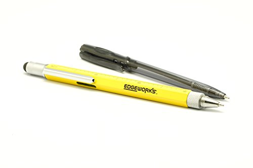 EdgeWorks-Screwdriver-Pen-Tool-is-a-Mini-Multitool-Pen-with-Stylus-Flat-and-Phillips-Screwdriver-Bit-Bubble-Level-and-inch-cm-Ruler-All-in-a-Lightweight-Durable-Bright-Yellow-Aluminium-Housing