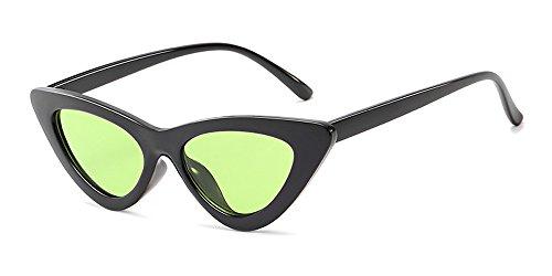 amp; de Unisexo Triángulo Ojo Retro Gafas Gafas Mujer Fiesta Gato de Moda Sol Clásico Verde Hombre Negro Fuyingda qAUwzfz