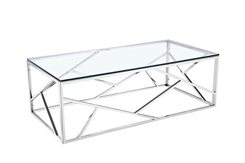 (Uptown Club Calypso Collection Contemporary Glass Living Room Coffee Table, 47