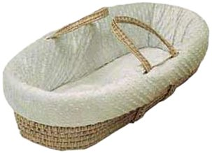 Baby Doll Bedding  Heavenly Soft Doll Moses Basket Set, Ivory