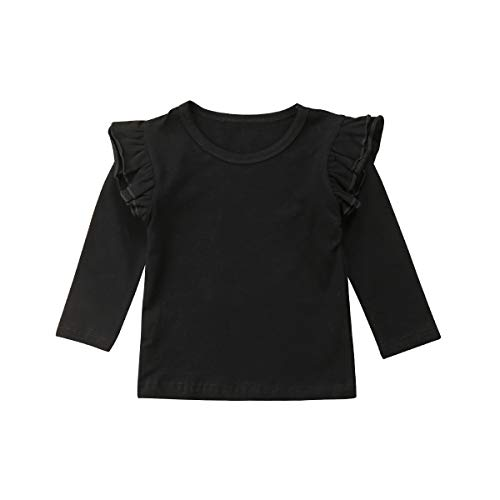 Mubineo Toddler Baby Girl Basic Plain Ruffle Sleeve Cotton T Shirts Tops Tee Clothes (Black(Long Sleeve), 6-12 Months) ()