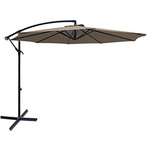SUNGREEN Offset Patio Umbrella 10ft Hanging Umbrella Outdoor Market Cantilever Umbrella with Crank Lift & Cross Base for Garden Backyard Deck and Poolside-Brown