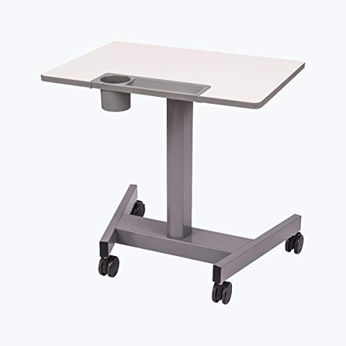 Offex Student-P Mobile Classroom Height Adjustable Cup Holder Student Pneumatic Sit/Stand Desk - Light Gray/Medium Gray